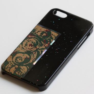 iPhoneケース ひねり塗り 白 螺鈿